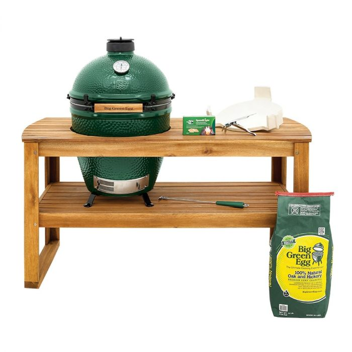 large big green egg with accacia table