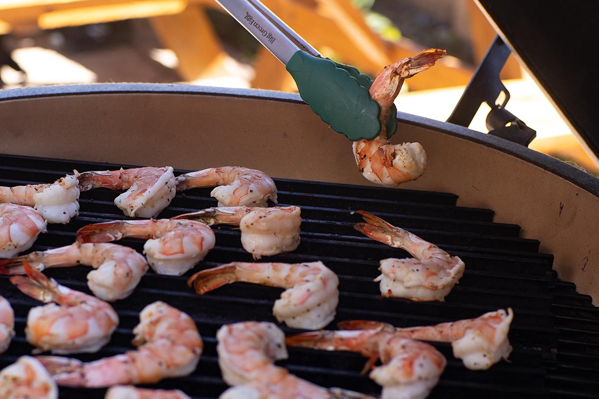 Marinated shrimp cooking on a Big Green Egg