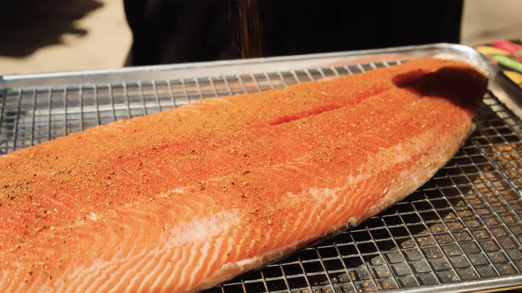 Salmon filet seasoned with Code 3 Sea Dog Rub